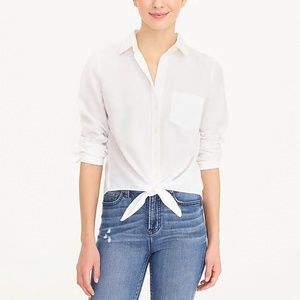 NWT J. Crew White Tie-Waist Button Down Shirt XL